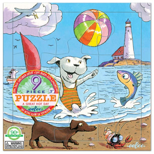 [ eeBoo ]  拼圖 —  海灘風情9片  (A Great Hot Day 9 Piece Puzzle)