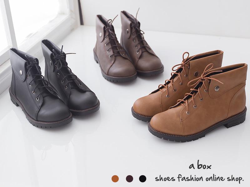 格子舖*【KDW6788】MIT台灣製 個性簡約防舊刷色皮革 金屬扣子 綁帶短筒靴 工程靴 三色