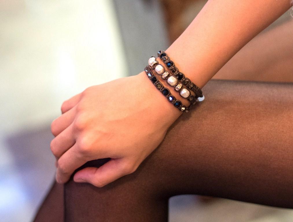 手工飾品設計 天然石編織系列-白珍珠夜銀色水晶手環