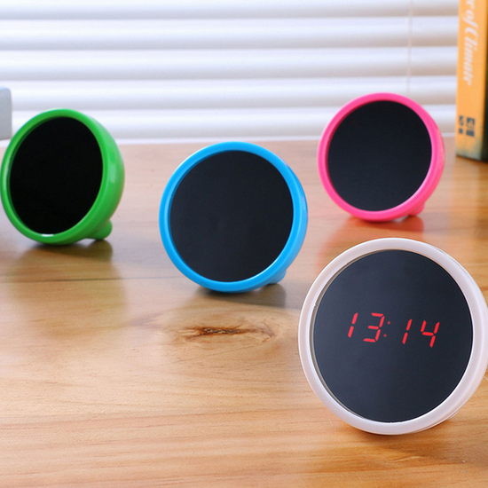♚MY COLOR♚創意鏡面LED鬧鐘 化妝鏡 時鐘 日期 24小時 鬧鈴 省電 電池 時尚 辦公室【L161】