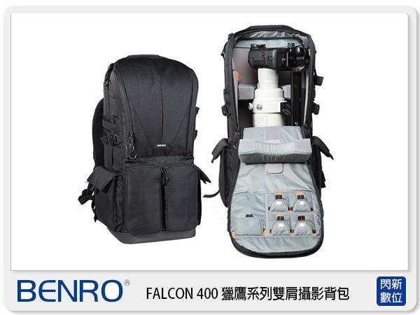 【分期0利率,免運費】BENRO 百諾 Falcon 400 獵鷹砲管 鏡頭系列 後背 雙肩 相機包 攝影包 黑 (公司貨)