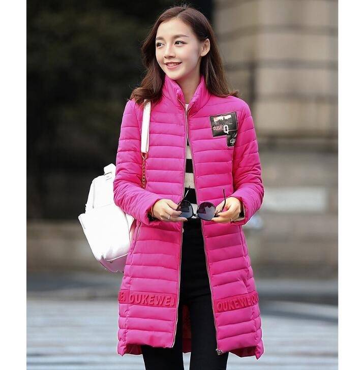 【鳶尾紫服飾館】立領設計 輕 羽絨棉服 長款 韓版甜美羽絨外套 冬裝女 棉外套 現貨