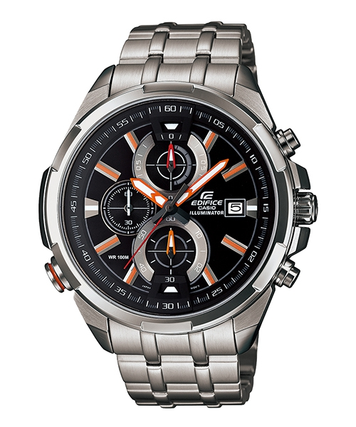 CASIO EDIFICE EFR-536D-1A4 LED霓虹賽車腕錶/黑面48mm