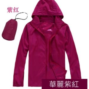 美麗大街【104111008】多色防風防潑水可收納風衣外套 情侶款 男女皆可【紫紅色】