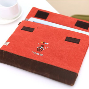 美麗大街【BF010E17E1E863】可愛多功能棉麻手拿包旅行iPad包