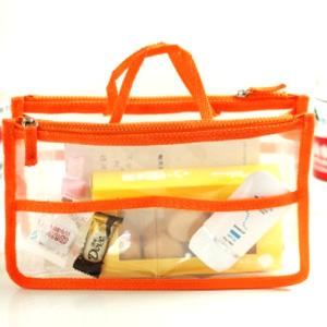 美麗大街【BF099E4E855】透明雙拉鍊手提包中包 收納包 化妝包