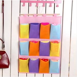 美麗大街【BF174E10E873】彩色無紡布收納掛袋懸掛式收納整理袋(三層十二格)