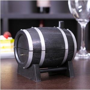 美麗大街【BF528E22E822】創意復古酒桶造型按壓式自動牙籤筒 牙籤盒