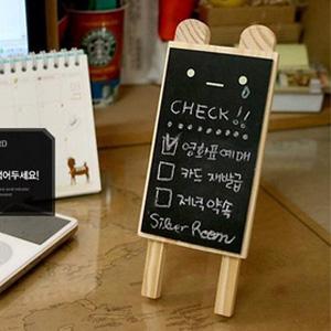 美麗大街【BF237E22E820】可愛木製小熊造型站立式留言小黑板(附板擦+粉筆三支)