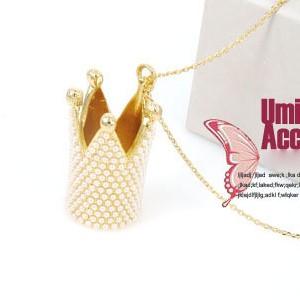 美麗大街【SG124】金色珍珠皇冠項鍊