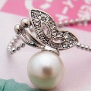 美麗大街【PLGA98】鑲鑽蝴蝶珍珠項鍊