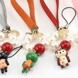 美麗大街【PLGD08】可愛動物皮革腕帶珠珠手機吊飾