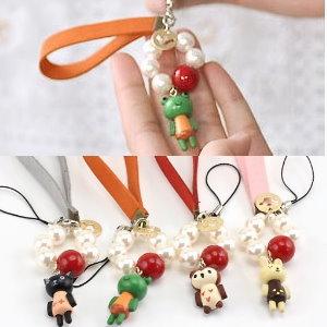 美麗大街【PLGF2】可愛動物皮革腕帶珠珠手機吊飾
