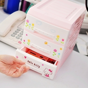 美麗大街【S102012404】HELLO KITTY 三層抽屜式桌面置物櫃