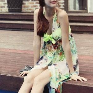 美麗大街【15013015】雪紡花紋繞脖綁帶露背比基尼外罩連身洋裝(不含比基尼)