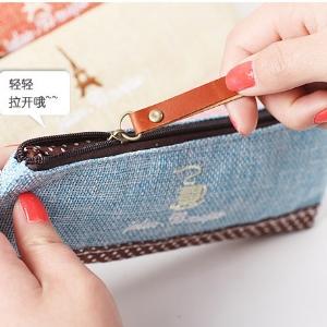 美麗大街【BFE29E4E17】小清新棉麻時光筆袋