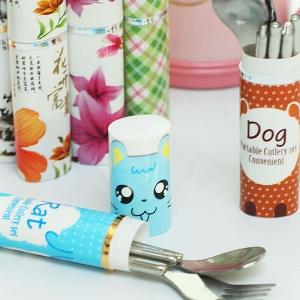美麗大街【BFJ18E4E18】旅行便攜卡通印花不鏽鋼叉子湯匙筷子三件套組