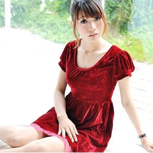 美麗大街【102071924】圓領燈籠包袖蕾絲連身裙洋裝
