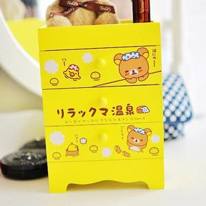 美麗大街【103051011】拉拉熊 懶熊 茶熊黃色三層溫泉泡湯 木製收納櫃 置物櫃 桌上收納盒