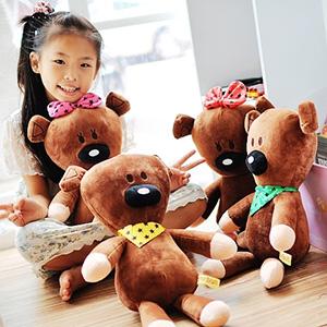 美麗大街【103080507】豆豆先生好朋友泰迪小熊星星領巾蝴蝶結造型12吋公仔玩偶