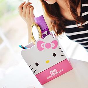 美麗大街【103080509】Hello Kitty凱蒂貓大頭造型三格單抽小物桌面木製收納箱收納盒