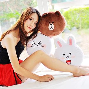 美麗大街【103080521】超夯表情公仔熊大 饅頭人 兔兔 12吋表情大頭抱枕