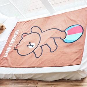 美麗大街【10311110301】表情公仔熊大小皮球系列保暖四季單人刷毛毯