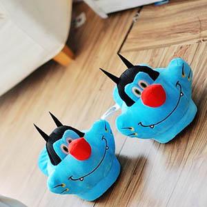 美麗大街【103120915】肥貓鬥小強藍貓阿肥大頭造型冬季保暖室內拖鞋