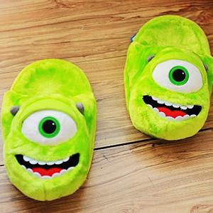 美麗大街【10401011202】迪士尼怪獸電力公司綠色大眼仔大頭造型冬季保暖室內拖鞋