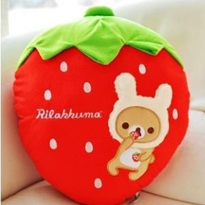美麗大街【104040109】拉拉熊頭型抱枕 懶懶熊 草莓  抱枕 枕頭 12吋