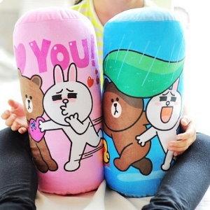 美麗大街【104041507】表情公仔 熊大 兔兔 圓筒造型抱枕