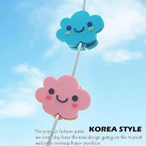 美麗大街【SK41】可愛雲朵表情可折疊耳机整理器