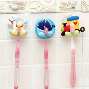 美麗大街【BFL003BE1E1】創意可愛立體卡通強力吸盤牙刷架