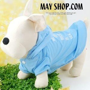美麗大街【S9010713】水藍色 風衣字母印花寵物狗衣服