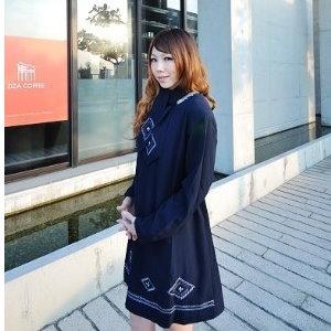 美麗大街【UF010401】甜美條紋幾何娃娃裝/大尺碼洋裝/孕婦裝/長袖洋裝(隨機出貨)