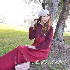 美麗大街【UF010409】甜美條紋幾何娃娃裝/大尺碼洋裝/孕婦裝/長袖洋裝(隨機出貨)