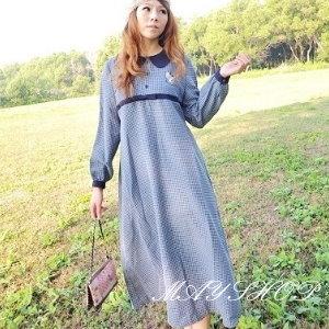 美麗大街【UF010410】甜美條紋幾何娃娃裝/大尺碼洋裝/孕婦裝/長袖洋裝(隨機出貨)