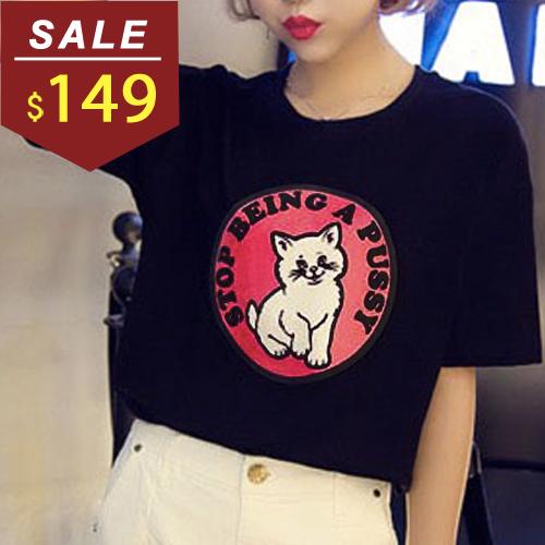 上衣 貓咪圓形字母印花五分袖T恤 小豬兒 MiNi Jule 【SCA61046129】