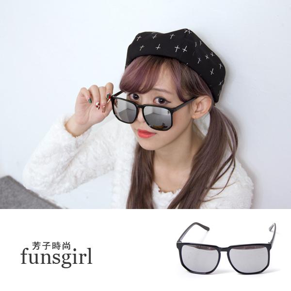 抗UV400-酷炫反光鍍膜細框防紫外線韓版墨鏡~funsgirl芳子時尚【B210106】