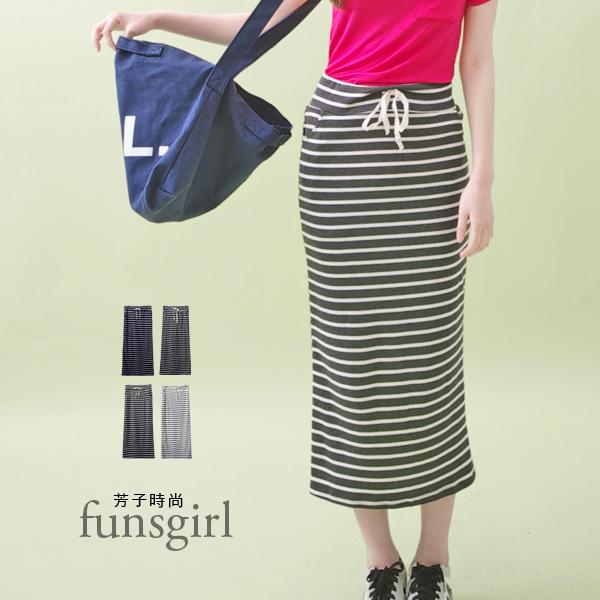 休閒條紋雙口袋後開岔棉長裙-4色~funsgirl芳子時尚【B190923】