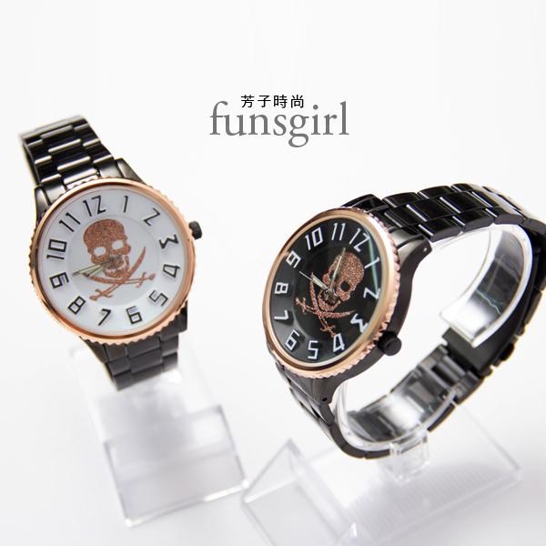 日本機芯亮粉骷髏凹凸立體浮雕手錶2色~funsgirl芳子時尚【B230017】