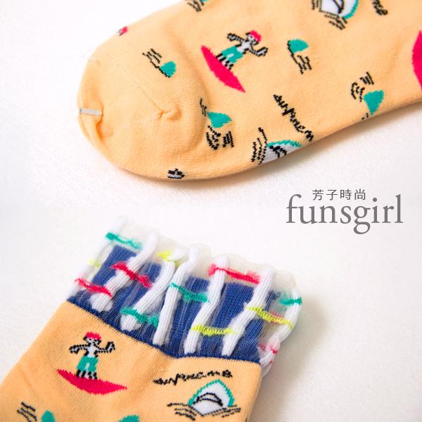 拼接透明網紗童趣圖案短襪~funsgirl芳子時尚【A330097】