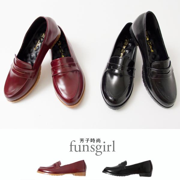 亮皮漆皮低跟休閒樂福鞋-2色~funsgirl芳子時尚【B150069】