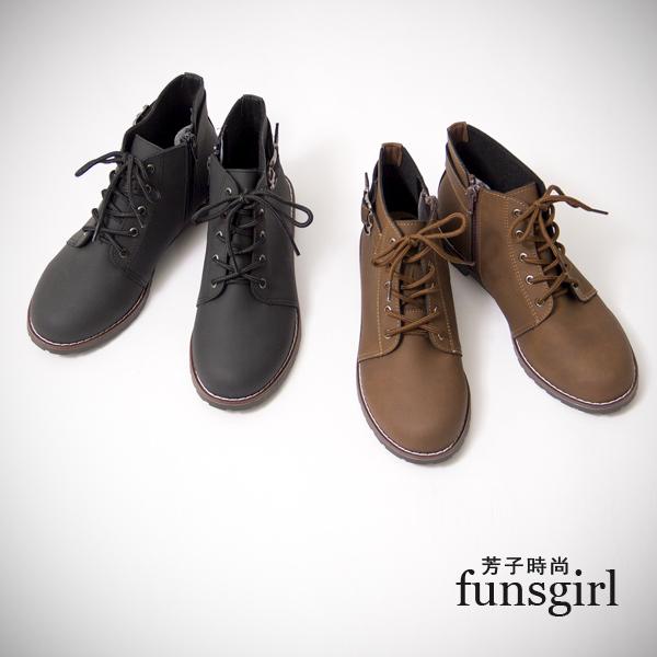MIT.騎士靴低跟側拉鍊綁繩簡約短靴2色~funsgirl芳子時尚【B150060】