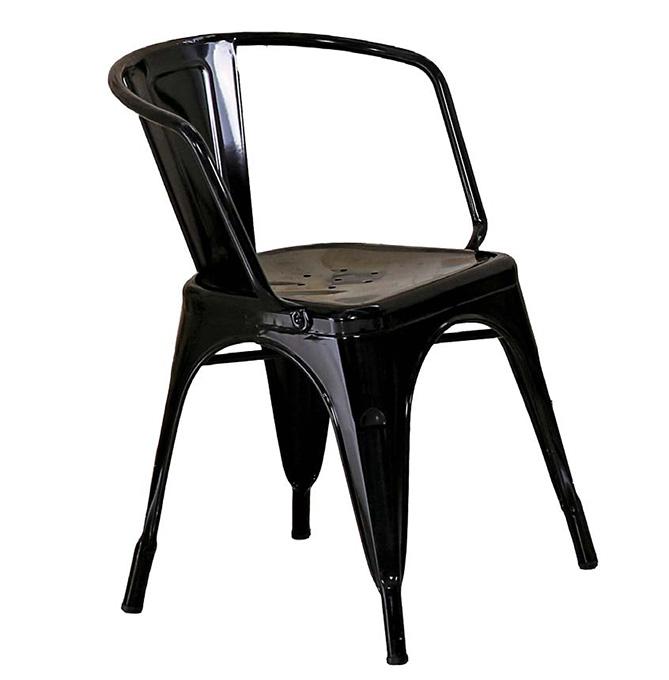 【 尚品傢俱】JF-487-1 強尼黑色低背扶手餐椅