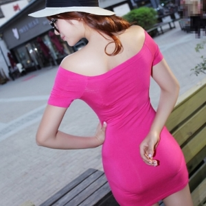美麗大街【IR2623】性感修身一字領短袖連衣裙包臀洋裝