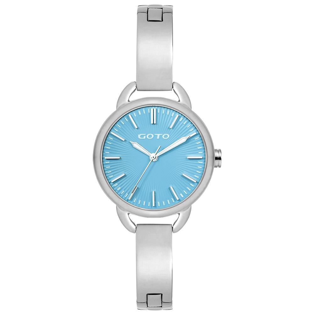 【易奇網】GOTO Sugar Lady 時尚腕錶-閃亮不鏽鋼殼x高雅首飾錶帶x天空藍面板/32mm