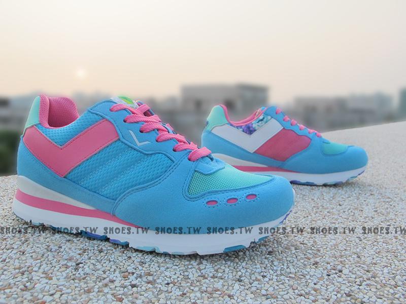 《超值7折》Shoestw【53W1YK61BL】PONY YORK復古慢跑鞋 內增高 水藍桃 歐陽妮妮限定 迷彩