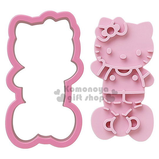 〔小禮堂〕Hello Kitty 日製吐司壓模《粉.舉單手.站姿.蝴蝶結》輕鬆打造趣味料理