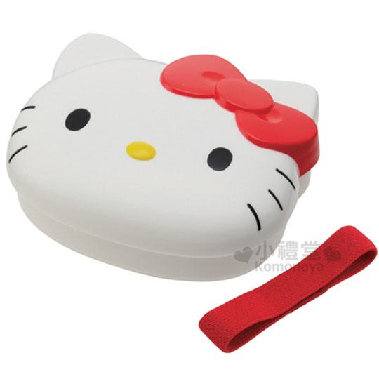 〔小禮堂〕Hello Kitty 造型微波便當盒《白.紅蝴蝶結.大臉》附鬆緊帶